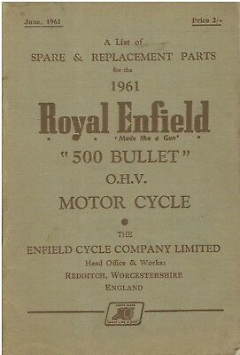 1961 Original Royal Enfield 500 Bullet O.H.V. SPARE PARTS LIST 62 Pages USED
