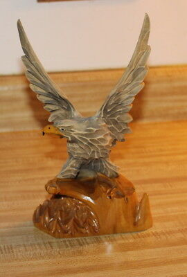 """Russian Hand Carved Wooden Eagle Figurine 9 3/4"""" Tall"""
