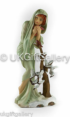 Mucha Four Seasons Sculpture WINTER Handpainted Resin Statue - Brand New & Boxed