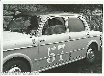 Fiat 1100 Original Black White Race Photograph Car in Rain number 57 Side View