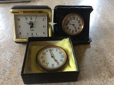 3 Antique Travel Clock/watches Harrods Rubine And Another For Spares Or Repair