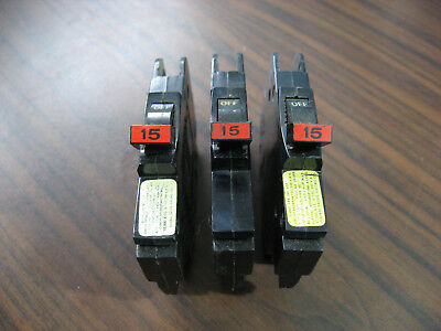 Lot of 3 Federal Pacific NC115 Circuit Breakers 15 Amp 1 Pole (Thin Style)