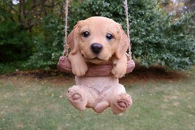 Golden Retreiver Puppy Figurine Dog On A Swing Resin Pet Ornament  New