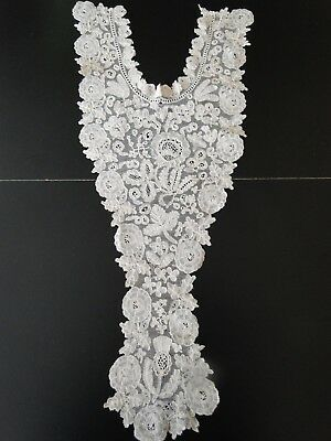 Antique Lace- Ornate ,fine Honiton Lace Dress Front W/roses And Thistles
