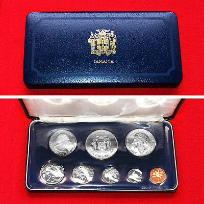 1974 Jamaica (8 Coin) Proof Set Includes Silver 5 & 10 Dollar Coin Franklin Mint