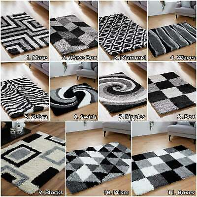 New Shaggy 5cm Non Shed Soft High Quality Modern Design Large Black Grey Rug