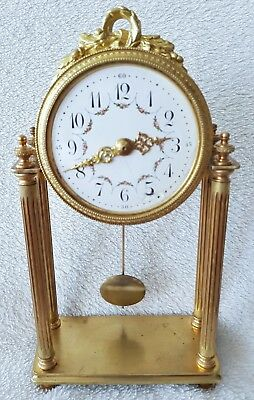 French Pillar Clock With Pendulum & Enamel Dial Winders 8 Day