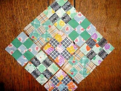 Vintage Lot of 9 Doll's NINE PATCH Quilt Blocks  c.1910-1940's  Set 3