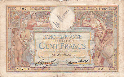 100 Francs  Vg Banknote From  France 1935!pick-78