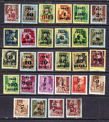 Hungary postage stamps - 1945 'Provisional' 28 x MINT Hinged - Collection odds