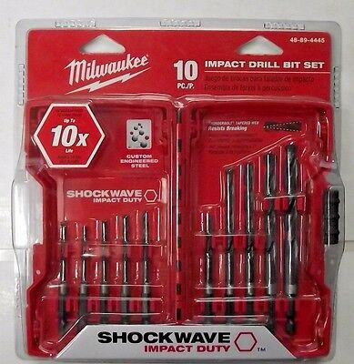 Milwaukee 48-89-4445 10 Piece Shockwave Hex Shank Impact Drill Bit Set