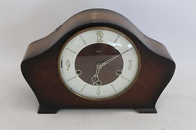 Vintage 1950's SMITHS Wooden Mantel Clock w/ Chimes - T08