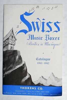 P409. Vintage: SWISS MUSIC BOXES Catalog Booklet by Thorens Co. (1941-1942)