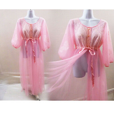 60s Vintage Robe Size M L Pink Nylon Lace Peignoir Duster Nightie Lingerie NWT