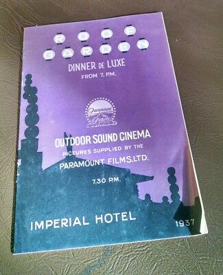 vintage booklet program Imperial hotel Tokyo Japan 1937 outdoor sound cinema