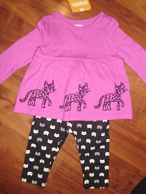 6 9 12 M Gymboree 2pc Pink Top CITY KITTY Cat Black Leggings Baby Girl New NWT