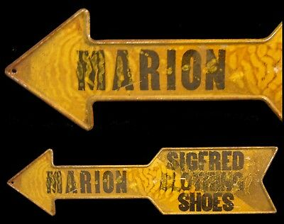 Antique Marion City Sigfred Clothing Directional Metal Arrow Advertising Sign