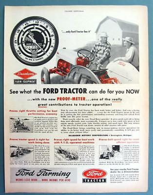 10x14 Original 1950 Ford Tractor Ad ONLY FORD HAS THE NEW PROOF-METER
