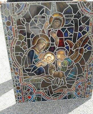 Antique Vtg Catholic Church Birth of Christ  Stained Glass Windows Panels Set 5
