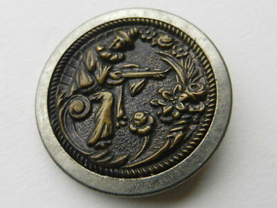 Antique Victorian Large Metal Picture Button Canio Playing Instrument