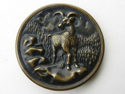 Antique Victorian Large Metal Picture Hunting Button Mountain Goat