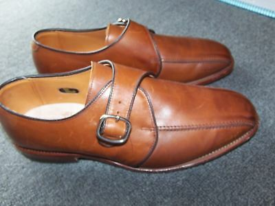 ALLEN EDMONDS CONCORD Monk Strap Shoes 9 1/2 D Brown Leather Loafers USA Made