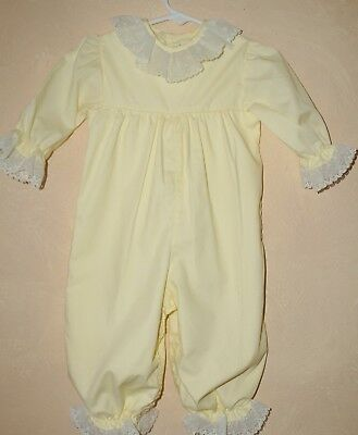 Vintage Frilly Lace Trimmed Yellow Baby Bubble Romper Size 9 mo  Toddle Tyke