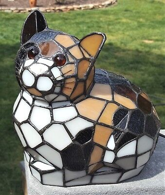 """Leaded Stained Glass  KITTY CAT Tiffany Style Accent LIGHT LAMP 8.5"""" Tall Vtg"""