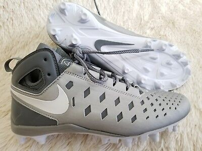 NEW NIKE Kids' Youth Silver White Huarache V Lax Mid Lacrosse Cleats - Size 4.5Y
