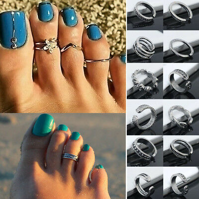 Sexy Celebrity Silver Daisy Toe Ring Women Punk Style Finger Foot Jewelry Set