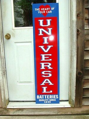 UNIVERSAL BATTERY 1930's VINTAGE STYLE 1'X46'' METAL DEALER SIGN-GARAGE ART