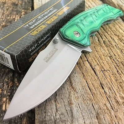 Tac-Force Spring Assisted Tactical Knife Green Wood Handle With Pocket Clip.