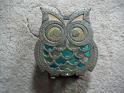 Retro Vintage 1960 Mcm  Cast Iron Owl Napkin Holder Rack - Stained Glass Look