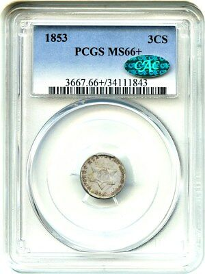 1853 3cS PCGS/CAC MS66+ Beautiful Gem - 3-Cent Silver - Beautiful Gem
