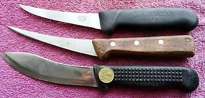Vintage Butchers Boning Knives X 3 ..dick Victorinox Plus Unbranded Nz ??