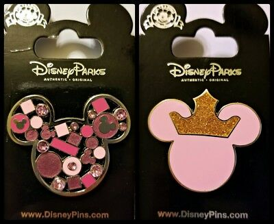 Disney Parks 2 Pin Lot PINK Mickey Ears Head Jeweled + Princess with crown