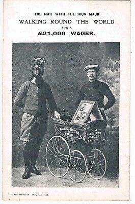 Social History - Man With The Iron Mask, Walking Round The World,for Wager, 1908