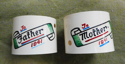 #d384.  Two 1941  Plastic  Napkin Rings - Mother & Father