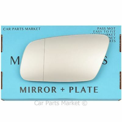 For Audi A6 c5 99-04 Right Driver Aspheric Electric wing mirror glass with plate