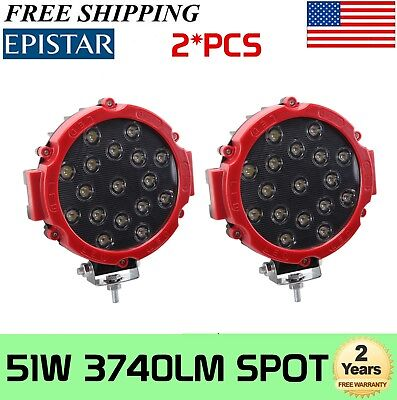 "2X 7""inch 51W Round Off Road Led Work Lights fit Jeep Truck Bumper Boat 4WD RED"