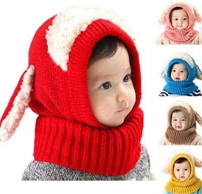 Baby Toddler Winter Girls Boys Warm Hat  Beanie Hooded Scarf Earflap Knitted Cap