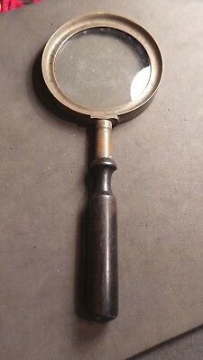 Vintage? Brass? & Wood? Magnifying Glass. (170mm).