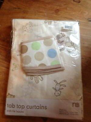 Mother Care - Tab Top Curtains, Natural for boy or Girl - 117cm - 137cm, New