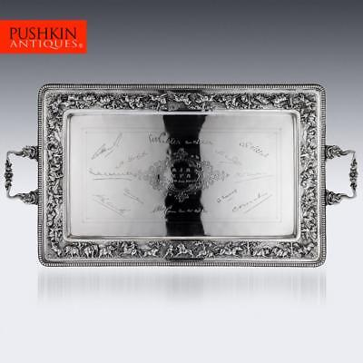 ANTIQUE 20thC INDIAN SOLID SILVER PRESENTATION TEA TRAY, BOMBAY c.1900