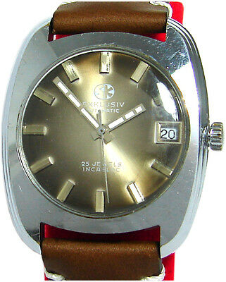 SK Exklusiv Automatic Herrenuhr Datum braun vintage mens watch 25Jewels PUW1561