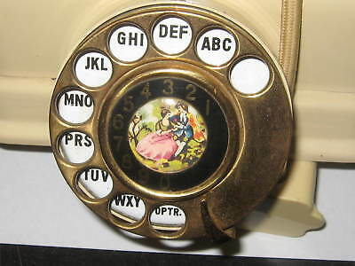 Vintage rotary dial fancy ivory plastic French style telephone