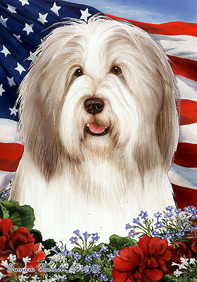Garden Indoor/Outdoor Patriotic I Flag - Fawn & White Bearded Collie 164831