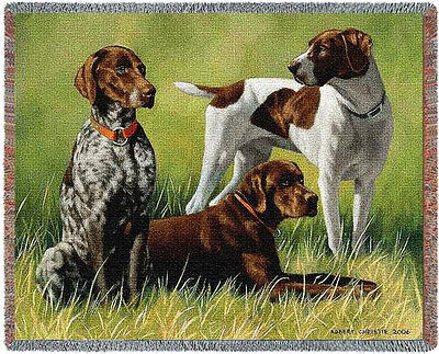 """Throw Tapestry Afghan - """"Variations on a Breed"""" German Shorthairs Christie #3299"""