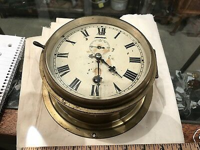 vintage as is brass ship's clock brass body w original old tin face project