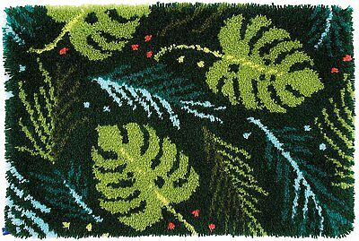 Leaves Design Latch Hook Kit Rug Making Kit by Vervaco 70x45cm Printed canvas